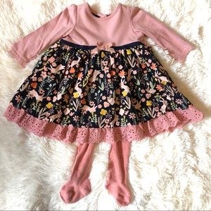 Adorable Infant Floral Dress w Matching Tights